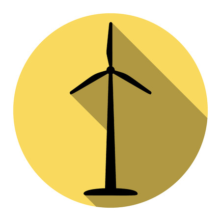 Wind turbine sign. Vector. Flat black icon with flat shadow on royal yellow circle with white background. Isolated.