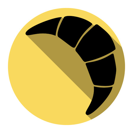 Croissant simple sign. Vector. Flat black icon with flat shadow on royal yellow circle with white background. Isolated. Illustration
