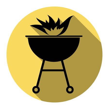 Barbecue with fire sign. Vector. Flat black icon with flat shadow on royal yellow circle with white background. Isolated. Illustration