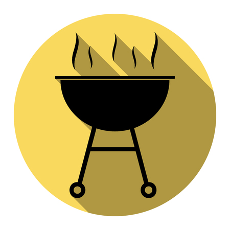 Barbecue simple sign. Vector. Flat black icon with flat shadow on royal yellow circle with white background. Isolated.