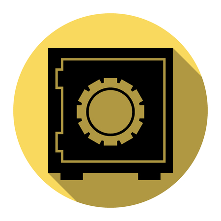 classified: Safe sign illustration. Vector. Flat black icon with flat shadow on royal yellow circle with white background. Isolated. Illustration