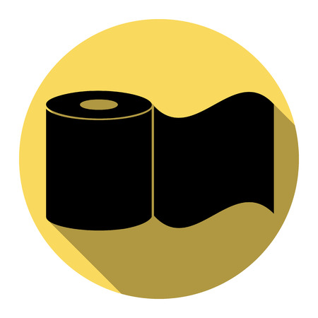 Toilet Paper sign. Vector. Flat black icon with flat shadow on royal yellow circle with white background. Isolated. Illustration