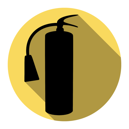 Fire extinguisher sign. Vector. Flat black icon with flat shadow on royal yellow circle with white background. Isolated.
