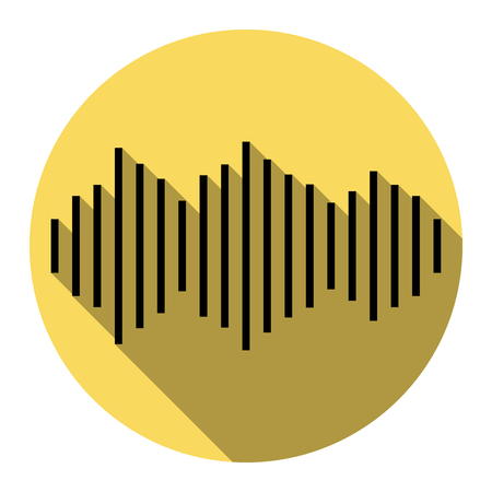 Sound waves icon. Vector. Flat black icon with flat shadow on royal yellow circle with white background. Isolated. Illustration