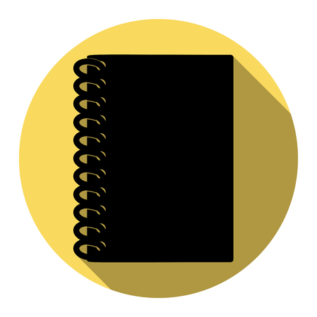writing pad: Notebook simple sign. Vector. Flat black icon with flat shadow on royal yellow circle with white background. Isolated.