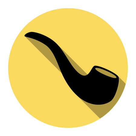 Smoke pipe sign. Vector. Flat black icon with flat shadow on royal yellow circle with white background. Isolated.