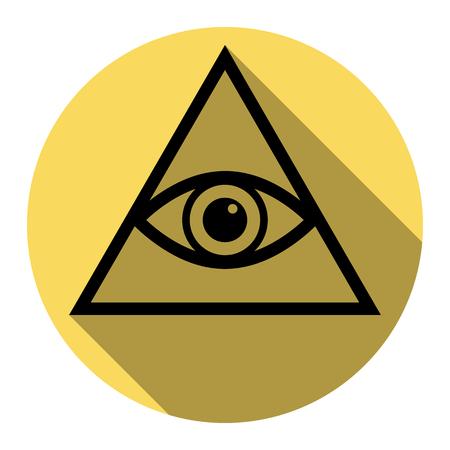 Tous voir symbole de la pyramide des yeux. Franc-maçon et spirituel. Vecteur. Icône plate noire avec une ombre plane sur un cercle jaune royal avec fond blanc. Isolé.