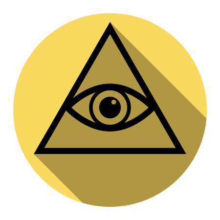 All seeing eye pyramid symbol. Freemason and spiritual. Vector. Flat black icon with flat shadow on royal yellow circle with white background. Isolated.