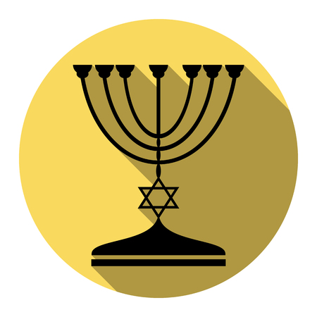 Jewish Menorah candlestick in black silhouette. Vector. Flat black icon with flat shadow on royal yellow circle with white background. Isolated.