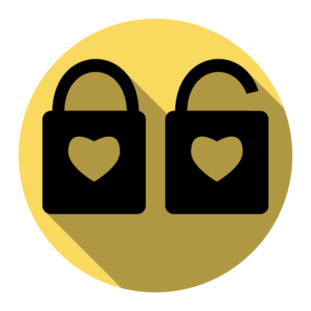 door lock love: lock sign with heart shape. A simple silhouette of the lock. Shape of a heart. Vector. Flat black icon with flat shadow on royal yellow circle with white background. Isolated. Illustration