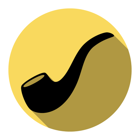 cigar shape: Smoke pipe sign. Vector. Flat black icon with flat shadow on royal yellow circle with white background. Isolated.