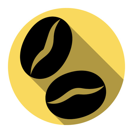 Coffee beans sign. Vector. Flat black icon with flat shadow on royal yellow circle with white background. Isolated.