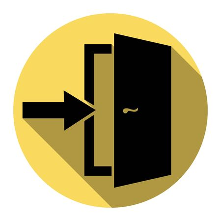 approach: Door Exit sign. Vector. Flat black icon with flat shadow on royal yellow circle with white background. Isolated. Illustration