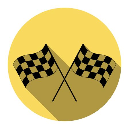 Crossed checkered flags logo waving in the wind conceptual of motor sport. Vector. Flat black icon with flat shadow on royal yellow circle with white background. Isolated. Illustration