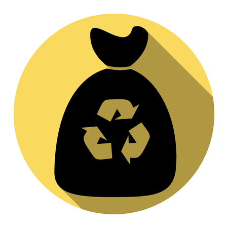 Trash bag icon. Vector. Flat black icon with flat shadow on royal yellow circle with white background. Isolated. Illustration
