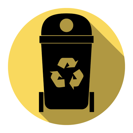 trashing: Trashcan sign illustration. Vector. Flat black icon with flat shadow on royal yellow circle with white background. Isolated.