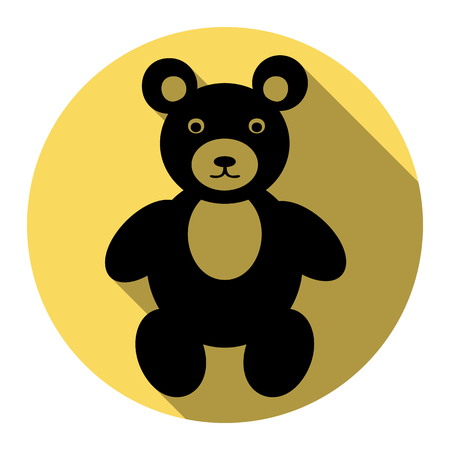 Teddy bear sign illustration. Vector. Flat black icon with flat shadow on royal yellow circle with white background. Isolated. Illustration