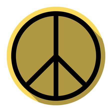 Peace sign illustration. Vector. Flat black icon with flat shadow on royal yellow circle with white background. Isolated.