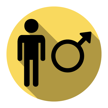 andropause: Male sign illustration. Vector. Flat black icon with flat shadow on royal yellow circle with white background. Isolated. Illustration
