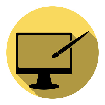 hdtv: Monitor with brush sign. Vector. Flat black icon with flat shadow on royal yellow circle with white background. Isolated. Illustration