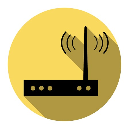 Wifi modem sign. Vector. Flat black icon with flat shadow on royal yellow circle with white background. Isolated.