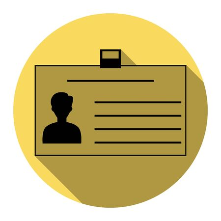 convention: Identification card sign. Vector. Flat black icon with flat shadow on royal yellow circle with white background. Isolated.