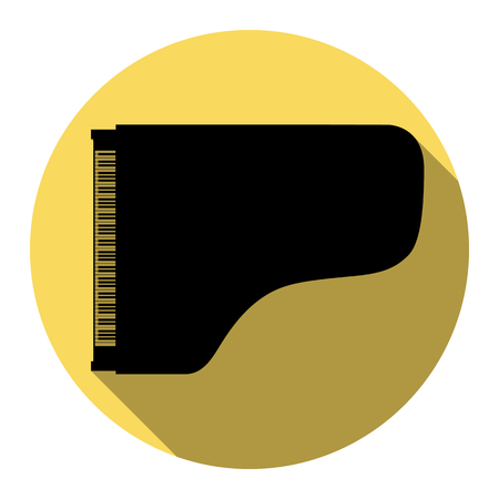 Concert grand piano sign. Vector. Flat black icon with flat shadow on royal yellow circle with white background. Isolated. Illustration