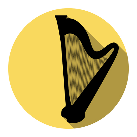 Musical instrument harp sign. Vector. Flat black icon with flat shadow on royal yellow circle with white background. Isolated.