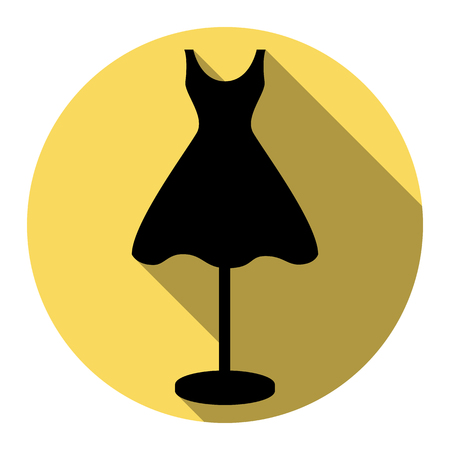 Mannequin with dress sign. Vector. Flat black icon with flat shadow on royal yellow circle with white background. Isolated.