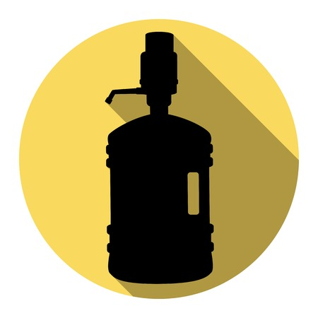 Plastic bottle silhouette with water and siphon. Vector. Flat black icon with flat shadow on royal yellow circle with white background. Isolated.