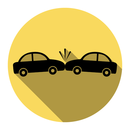 Crashed Cars sign. Vector. Flat black icon with flat shadow on royal yellow circle with white background. Isolated.