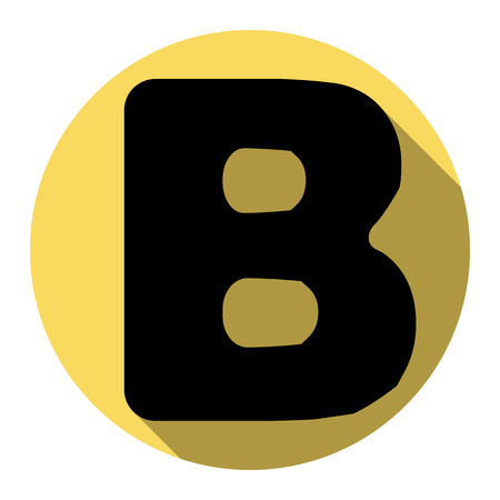 ful: Letter B sign design template element. Vector. Flat black icon with flat shadow on royal yellow circle with white background. Isolated.