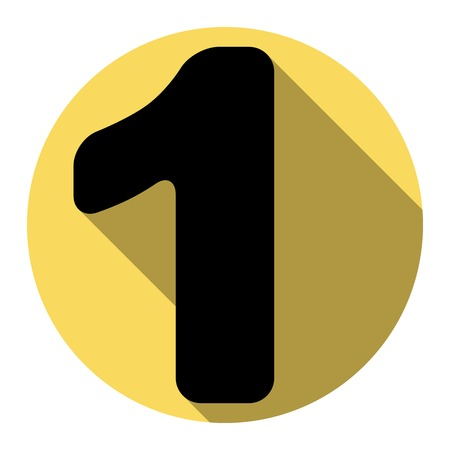 ful: Number 1 sign design template element. Vector. Flat black icon with flat shadow on royal yellow circle with white background. Isolated.