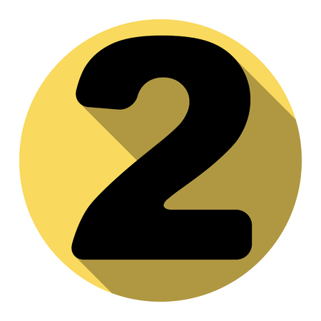 Number 2 sign design template elements. Vector. Flat black icon with flat shadow on royal yellow circle with white background. Isolated.