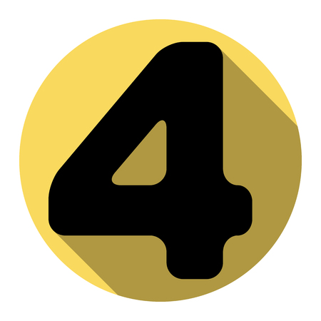 ful: Number 4 sign design template element. Vector. Flat black icon with flat shadow on royal yellow circle with white background. Isolated.