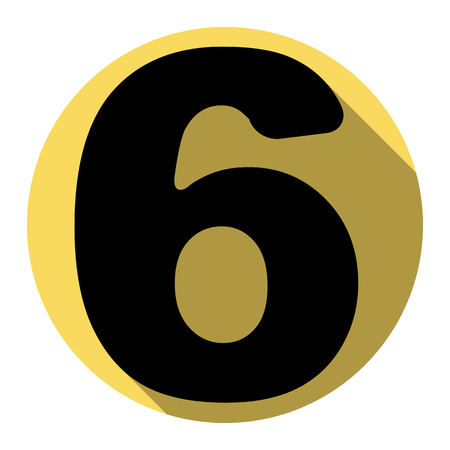 ful: Number 6 sign design template element. Vector. Flat black icon with flat shadow on royal yellow circle with white background. Isolated.