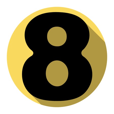 ful: Number 8 sign design template element. Vector. Flat black icon with flat shadow on royal yellow circle with white background. Isolated.