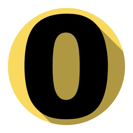ful: Number 0 sign design template element. Vector. Flat black icon with flat shadow on royal yellow circle with white background. Isolated.