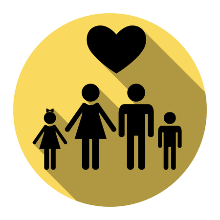 Family symbol with heart. Husband and wife are kept childrens hands. Love. Vector. Flat black icon with flat shadow on royal yellow circle with white background. Isolated.