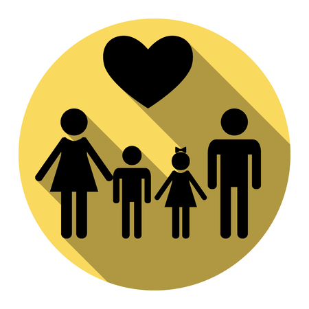 Familiensymbol mit Herz. Ehemann und Ehefrau sind Kinderhände. Vektor. Flache schwarze Ikone mit flachem Schatten auf königlichem gelbem Kreis mit weißem Hintergrund. Isoliert. Standard-Bild - 75097435