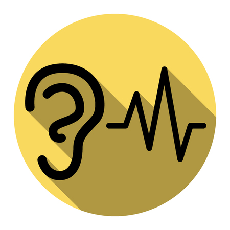 audible: Ear hearing sound sign. Vector. Flat black icon with flat shadow on royal yellow circle with white background. Isolated.