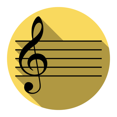 Music violin clef sign. G-clef. Vector. Flat black icon with flat shadow on royal yellow circle with white background. Isolated. Illustration
