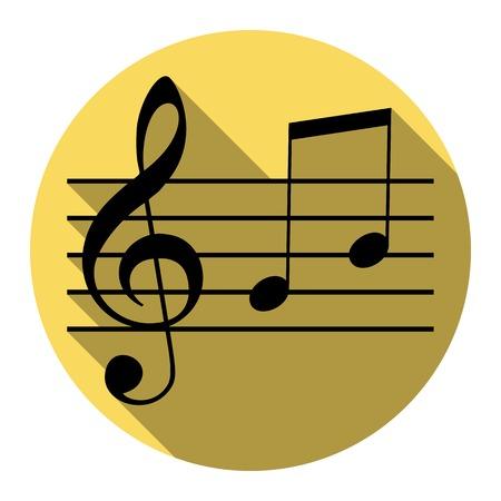 Musik Violinschlüssel Zeichen. G-Notenschlüssel und Noten G, H. Vector. Flache schwarze Ikone mit flachem Schatten auf königlichem gelbem Kreis mit weißem Hintergrund. Isoliert. Standard-Bild - 75097475