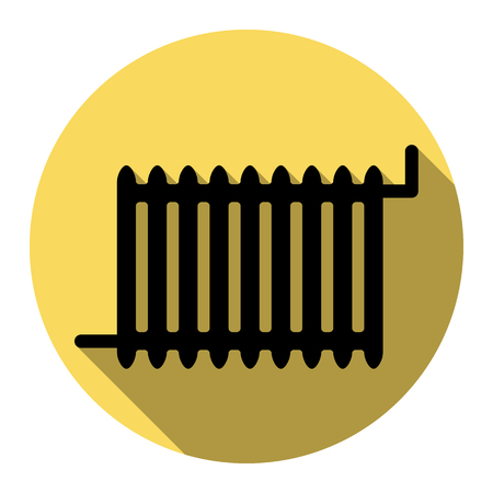 responsive design: Radiator sign. Vector. Flat black icon with flat shadow on royal yellow circle with white background. Isolated. Illustration