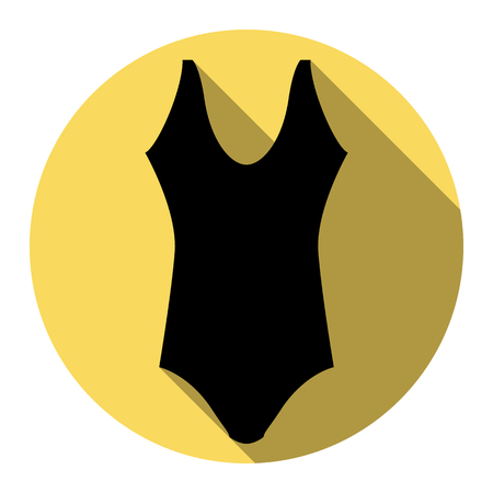 Woman`s swimsuit sign. Vector. Flat black icon with flat shadow on royal yellow circle with white background. Isolated.