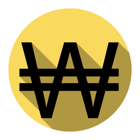 Won sign. Vector. Flat black icon with flat shadow on royal yellow circle with white background. Isolated.