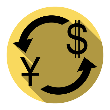 yuan: Currency exchange sign. China Yuan and US Dollar. Vector. Flat black icon with flat shadow on royal yellow circle with white background. Isolated.