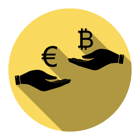 Currency exchange from hand to hand. Euro an Bitcoin. Vector. Flat black icon with flat shadow on royal yellow circle with white background. Isolated.