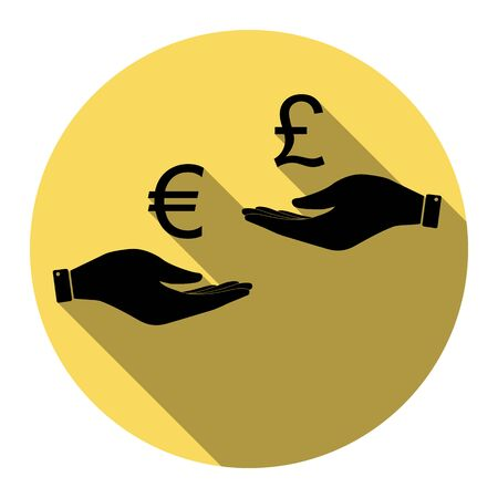 lira: Currency exchange from hand to hand. Euro and Puond. Vector. Flat black icon with flat shadow on royal yellow circle with white background. Isolated. Illustration