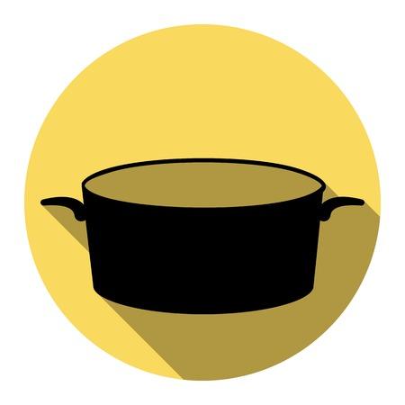 pan signe. vecteur plat icône noir avec ombre isométrique sur le cercle noir et blanc. fond noir . .vector